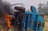 VIDEO: धान छंटाई के दौरान उठी चिंगारी ने खाक कर दिया ट्रैक्टर
