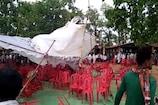 VIDEO : आंधी उड़ा ले गयी पंडाल, 11 केवी के तार में विस्फोट और मच गयी भगदड़