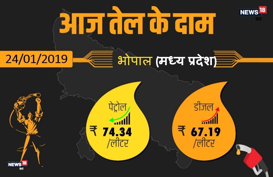 कच्चे तेल की कीमतों में लगातार बदलावहो रहा है जिसकी वजह से मध्य प्रदेश के कई बड़े शहरों में पेट्रोल डीजल की कीमतों में बदलाव देखने को मिला है. राजधानी भोपाल में आज पेट्रोल74.34 रुपए प्रति प्रति लीटर और डीजल 67.19 रुपए प्रति लीटर मिल रहा है. आगे देखिए मध्य प्रदेश के अन्य बड़े शहरों में क्या है आज पेट्रोल-डीजल के दाम.