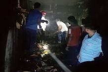 यमुनानगर के थोक मार्केट की जूतों की दुकान में लगी भीषण आग