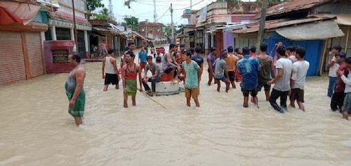 बिहार के अररिया में बाढ़ग्रस्त इलाके की तस्वीर