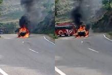 बिलासपुर में हाईवे पर चलती कार में लगी आग, दो सवारों ने ऐसे बचाई जान
