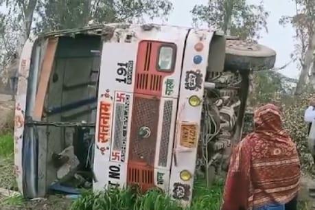 करनाल में सवारियों से भरी प्राइवेट बस पलटी, 18 यात्री घायल, 5 की हालत गंभीर