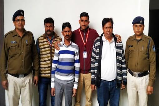 इंदौर में नकली दवाईयों की फैक्ट्री पर छापे में गिरफ्तार आरोपी.