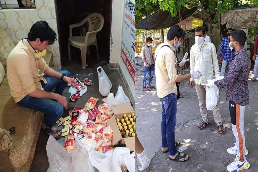 राजधानी दिल्ली में कुछ युवकों द्वारा इस मुश्किल घड़ी में लोगों को मुफ्ट खाना और अन्य जरूरत का सामान दिया जा रहा है. इसके साथ ही युवकों द्वारा लोगों को घर से बाहर न निकलने और खुद को कोरोना वायरस से कैसे बचाना है इसके लिए जागरूक किया जा रहा है. (फोटो साभारः फेसबुक/anand upreti)