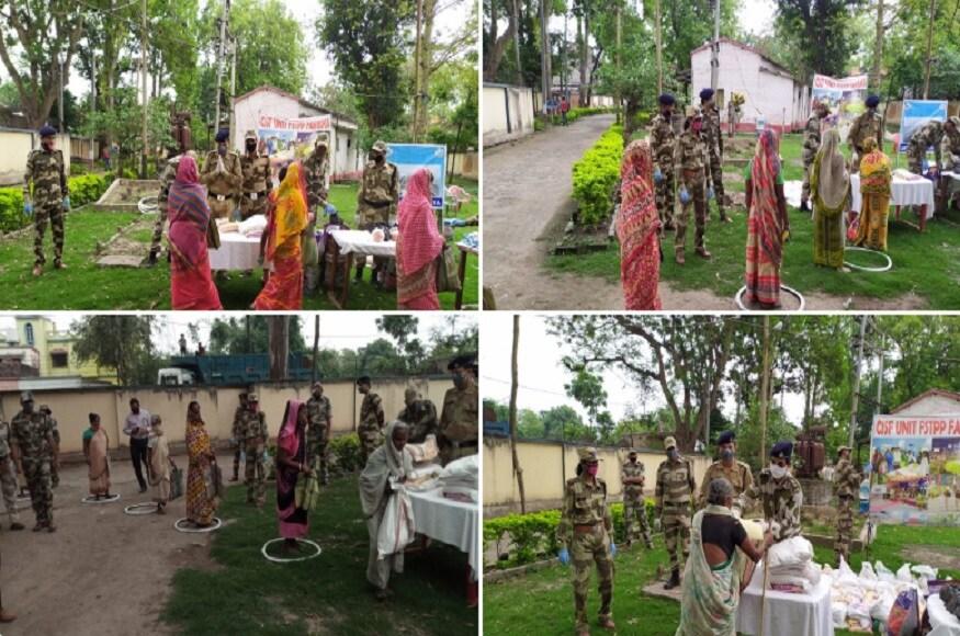 #CISF Unit एफबीपी और एफएसटीपीपी फरक्का, मुर्शिदाबाद (पश्चिम बंगाल) के बल सदस्यों ने संयुक्त रूप से स्वैच्छिक अंशदान से एकत्र राशि से आसपास स्थित बस्तियों में जरूरतमंदों को खाद्य सामग्री प्रदान करके सहायता की. साभार-twitter.com/CISFHQrs