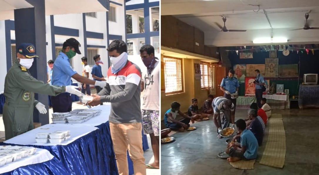 पोर्ट ब्लेयर में इंडियन नेवी कोविड-19 से बचाव के लिए लोगों को कर रही जागरूक, जरूरतमंदों को बांट रही खाना. साभार- twitter.com/PIB_India