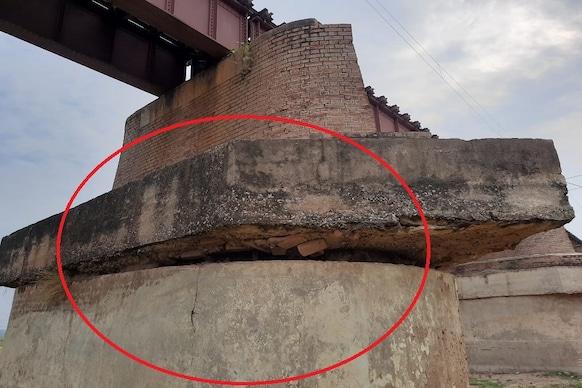 बिहार: बख्तियारपुर-राजगीर रेलखंड पर पंचाने नदी रेल पुल के पिलर में दिखी दरार!