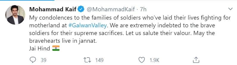 saina nehwal , Mohammad Kaif , Galwan Valley, soldiers, cricket, sports news, सायना नेहवाल, मोहम्मद कैफ, वीर सैनिक, लद्दाख, चीनी सैनिक, गलवान घाटीए स्पोर्ट्स न्यूज