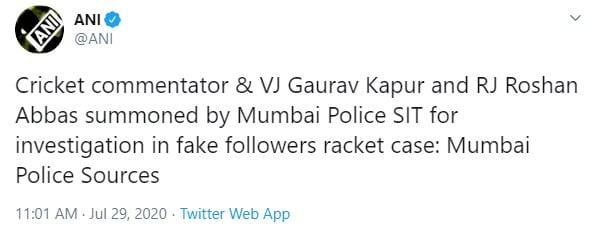 Mumbai Police summons cricket Commentator Gaurav Kapur in fake social media followers scam