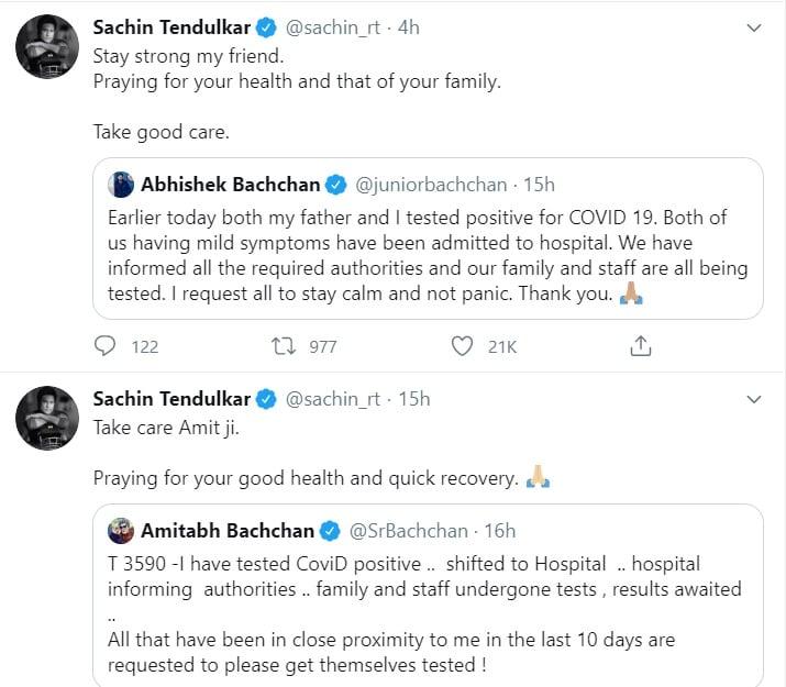 "<blockquote class=""twitter-tweet""><p lang=""en"" dir=""ltr"">Art transcends boundaries! My best to Mr Amitabh Bachchan for a speedy recovery. He's kind of always remained close to the Raja family primarily for the iconic dialogue in the film Namak Halal <a href=""https://t.co/Ckpihg4nPB"">https://t.co/Ckpihg4nPB</a></p>— Ramiz Raja (@iramizraja) <a href=""https://twitter.com/iramizraja/status/1282074796130525185?ref_src=twsrc%5Etfw"">July 11, 2020</a></blockquote> <script async src=""https://platform.twitter.com/widgets.js"" charset=""utf-8""></script>"