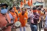 बीजेपी हेडक्वार्टर में लाइव देखा गया राम मंदिर का शिलान्यास... बनाई गई रंगोली