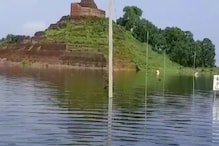 बिहार: केसरिया बौद्ध स्तूप की चहारदीवारी का एक हिस्सा ध्वस्त