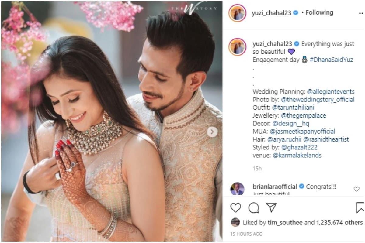 भारतीय क्रिकेट टीम के स्टार स्पिनर युजवेंद्र चहल हाल ही में अपनी मंगेतर धनश्री वर्मा के साथ शादी के बंधन में बंध गए हैं. चहल और धनश्री ने 22 दिसंबर 2020 को सात फेरे लिए और सोशल मीडिया पर फैन्स के साथ इस खुशी को साझा किया. शादी की तस्वीरें शेयर करने के एक दिन बाद युजवेंद्र और धनश्री ने अपनी सगाई की तस्वीरें भी शेयर कर दी हैं. (Yuzvendra Chahal/Instagram)
