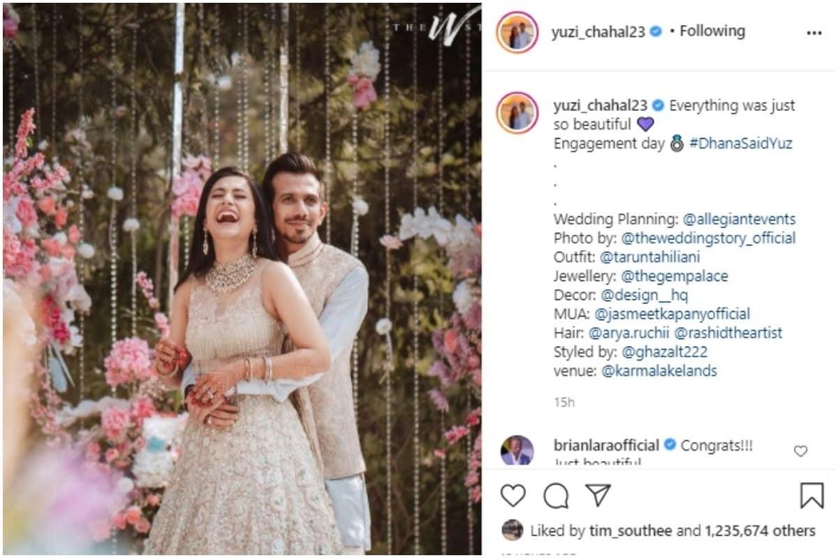 युजवेंद्र चहल और धनश्री वर्मा की रोका सेरेमनी इसी साल इंडियन प्रीमियर लीग से पहले अगस्त में हुई थी. कपल ने अपनी रोका सेरेमनी की तस्वीरें शेयर कर अपने रिश्ते के बारे में बताया था. सगाई की तस्वीर शेयर करते हुए लिखा- सब बहुत खूबसूरत है. (Yuzvendra Chahal/Instagram)