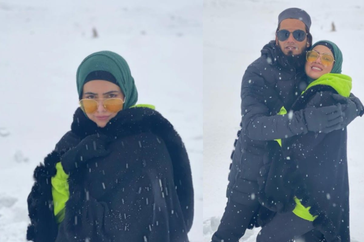 Sana Khan, Sana Khan wedding, Sana Khan-Anas Saiyad honeymoon, Sana Khan enjoys snowfall with husband Anas, Sana Khan shares honeymoon photos, gulmarg, Social Media, Viral Photo, News 18, Network 18, सना खान, गुलमर्ग, बर्फबारी, सना खान ने शेयर की हनीमून का तस्वीरें