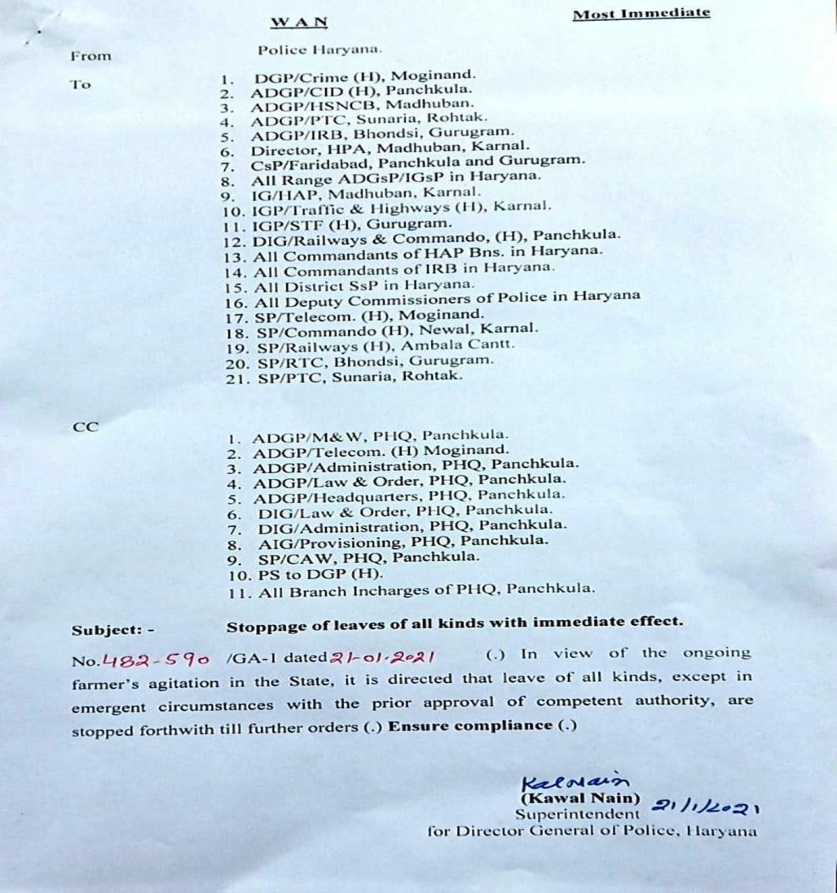 Kisan Andolan Haryana Police Cancel Leaves
