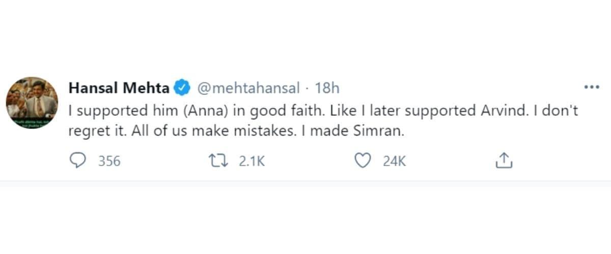 hansal mehta, anna hazare