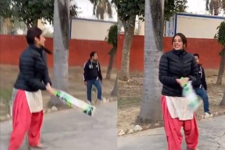Jahnavi Kapoor showed his cricketing skills during the shoot.