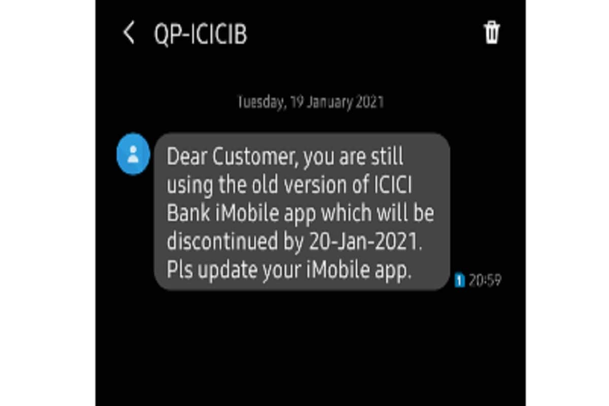 your imobile app old version will be discontinued by 20 Jan 2021