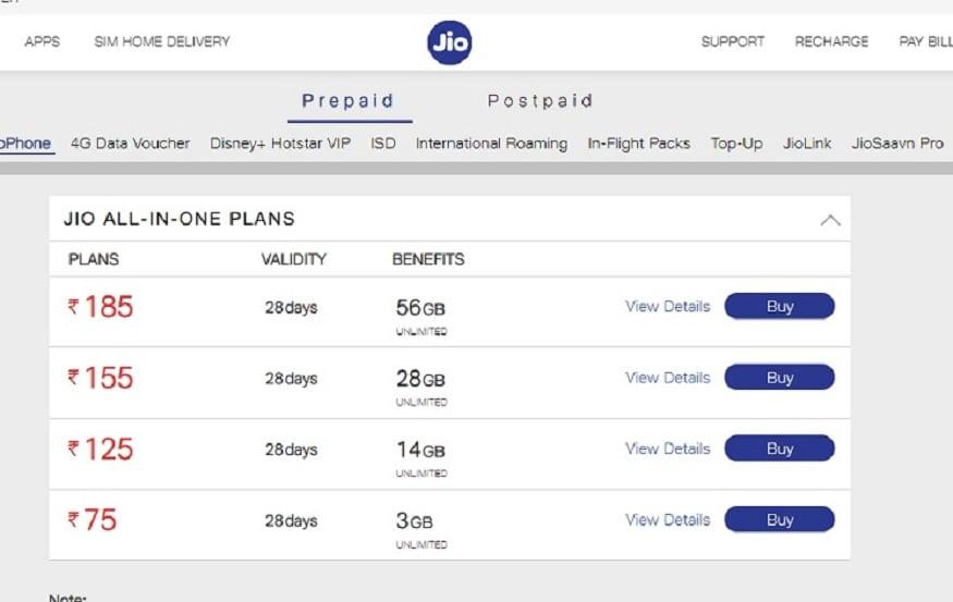 JioPhone के लिए रिलायंस जियो कई सस्ते प्लान ऑफर करती है.