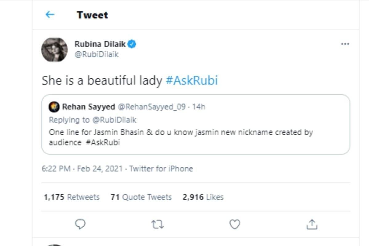 Bigg Boss 14, Bigg Boss, Rubina Dilaik, Jasmin Bhasin, Rubina calls Jasmin beautiful lady, twitter, AskRubi, News18, Bigg Boss 14 winner Rubina Dilaik, Network 18, बिग बॉस, सोशल मीडिया