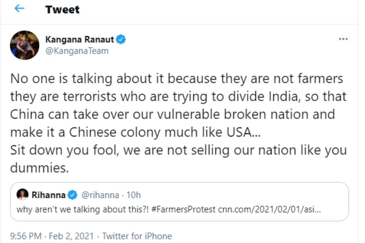 Rihanna, Kangana Ranaut, Kangana Ranaut Tweet, Kangana Ranaut slams Rihanna, Rihanna Tweet, Social Media, Viral News, Viral Tweets, News18, Network 18, Farmers Protest, किसान आंदोलन, पॉप सिंगर रिहाना , कंगना रनौत