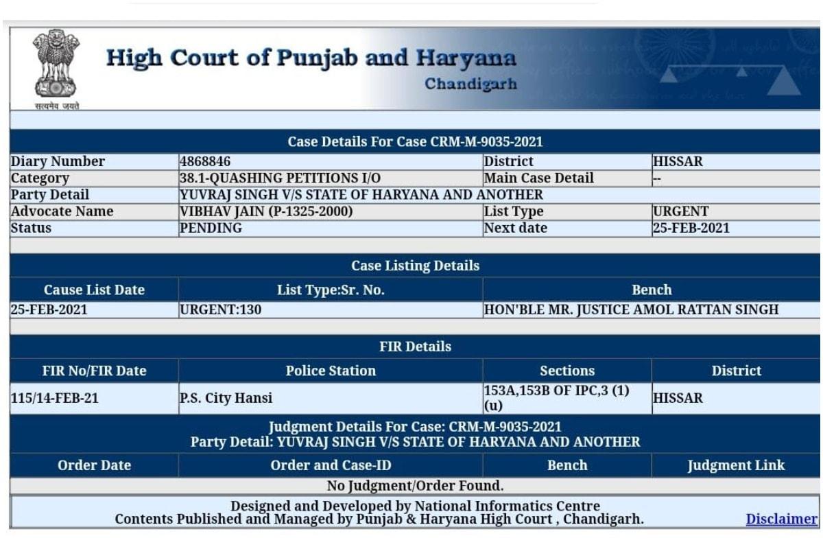 Yuvraj Singh, Punjab Haryana High Court, Yuzvendra Chahal, Hansi Police, Rajat Kalsan, युवराज सिंह, पंजाब हरियाणा हाईकोर्ट, युजवेंद्र चहल, हांसी पुलिस, रजत कलसन