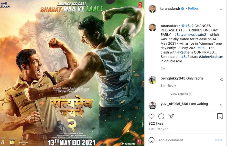 सत्यमेव जयते 2, Satyameva Jayate 2, eid 2021, Radhe Movie, Salman Khan, John Abraham