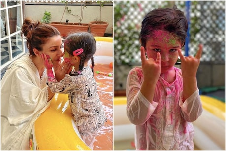Soha Ali Khan with daughter and Taimur Ali Khan in Holi colors.  Instagram (@ Sohaalikhan / @ KareenaKapoorkhan)