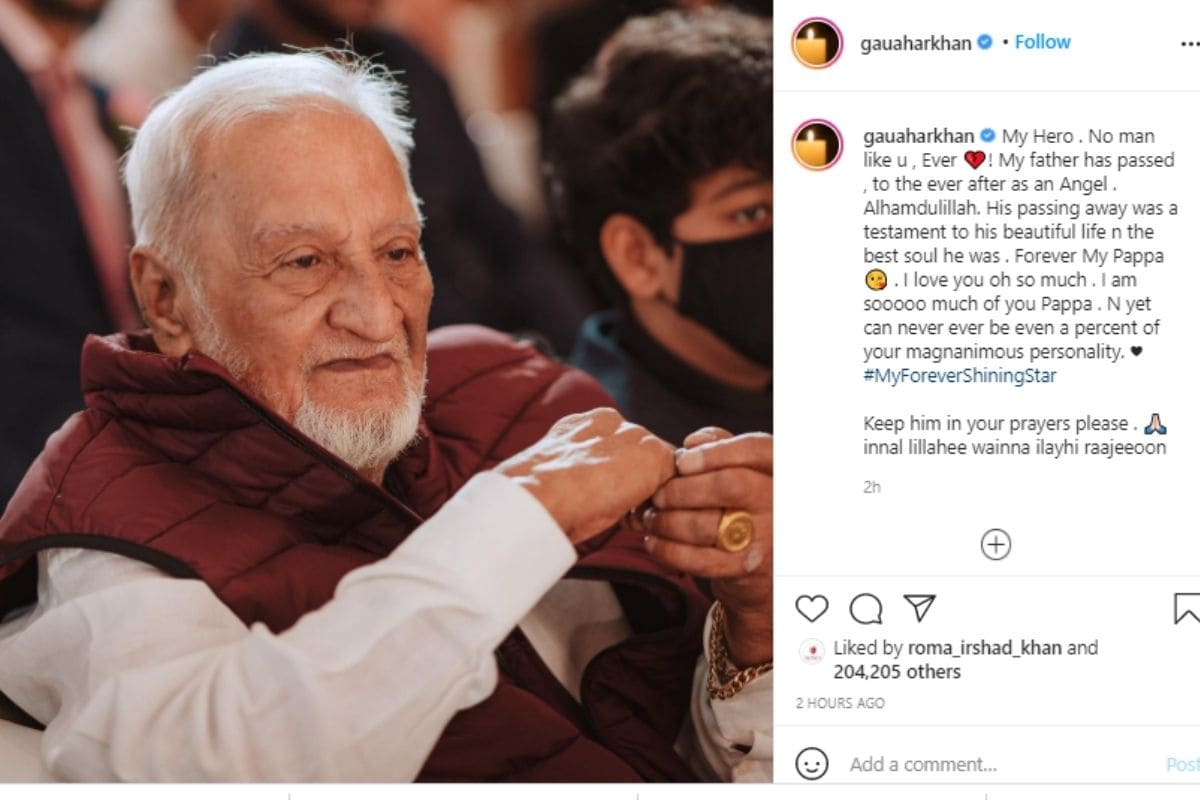 Gauahar Khan, Gauahar Khan emotional Post, Social Media, Viral News, Gauahar Khan father passed away, Gauahar Khan death, News18, Network 18, Zafer Ahmed Khan, News18, Network 18, गौहर खान, गौहर खान पिता का निधन