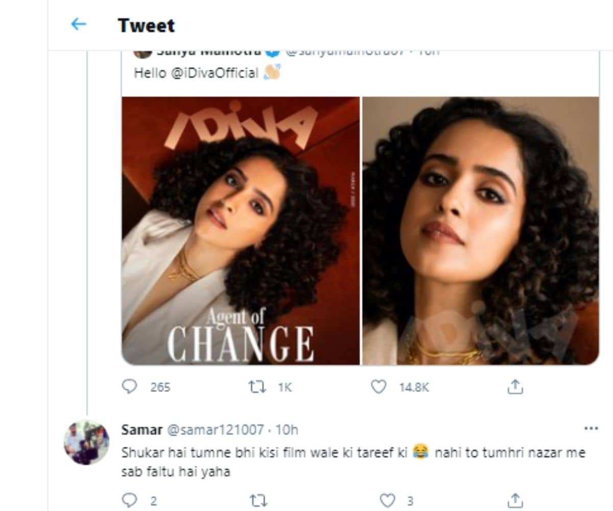 Kangana Ranaut, Kangana Ranaut Tweet, Kangana Ranaut tweet for Sanya Malhotra, Pagglait, Kangana Ranaut praises Sanya Malhotra, Sanya Malhotra says thank you to Kangana Ranaut, Social Media, Viral News, कंगना रनौत , सान्या मल्होत्रा , पगलैट