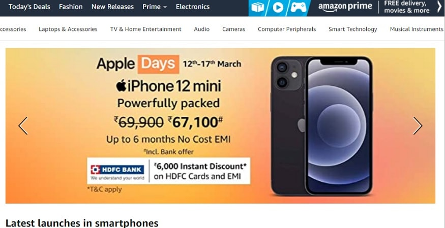 The iphone 12 mini can be brought home cheaply from Amazon Apple Days.