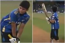 12 साल के अर्जुन तेंदुलकर ने MI की जर्सी पहन बॉलिंग मशीन के सामने की बल्लेबाजी