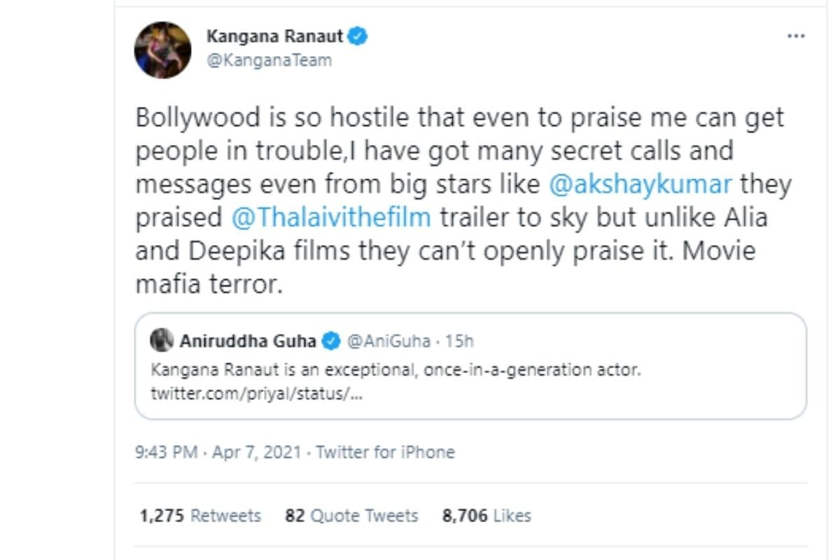 कंगना रनौत, मूवी माफिया के आतंक, अक्षय कुमार, Kangana Ranaut, movie mafia terror,Thalaivi, Kangana Ranaut tweet on movie mafia terror, Kangana Ranaut says she got secret calls from Akshay Kumar and others, Akshay Kumar