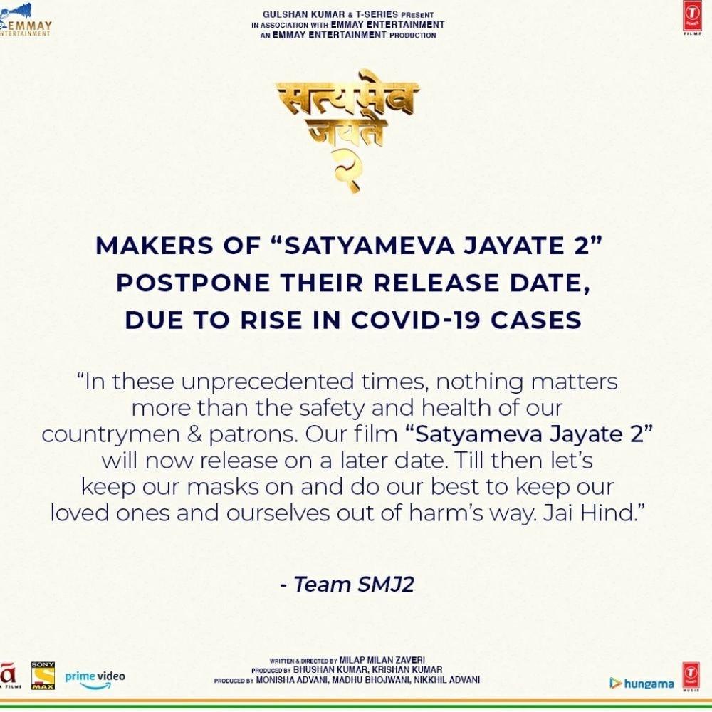 John Abraham, Satyameva Jayate 2, Satyameva Jayate 2 postponed, Covid 19 cases, Divya Khosla, सत्मेव जयते, सत्मेव जयते की रिलीज डेट टली, जॉन अब्राहम