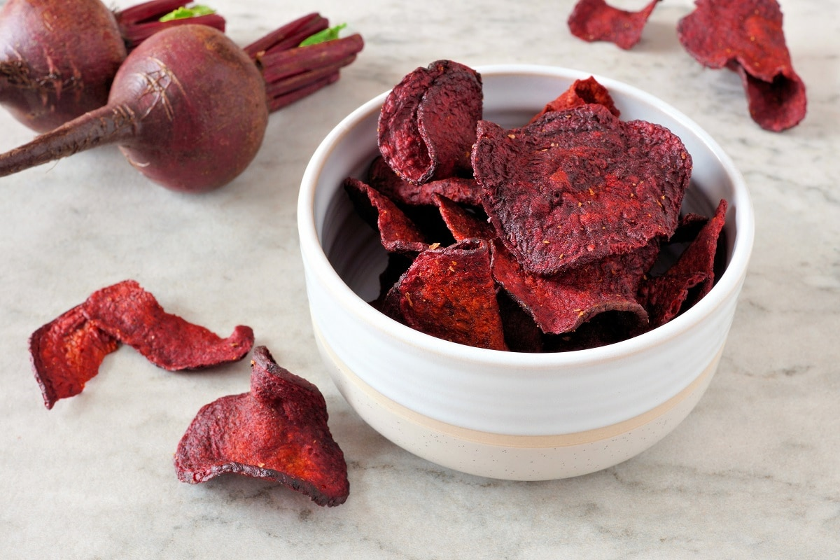 beetroot chips recipe made with fresh beetroot and spices for snacks pur
