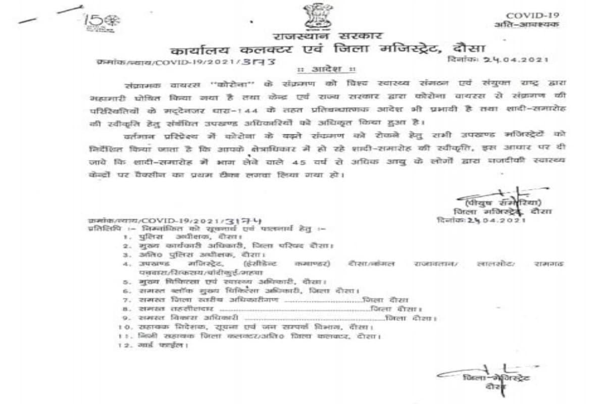 दौसा कलक्टर का अनूठा फरमान, 45+ वाले वैक्सीनेशन करवाकर ही शादी में शामिल हों, अन्यथा... Rajasthan News- Dausa News- Collector's unique decree- People over 45 years of age cannot attend marriage without vaccination