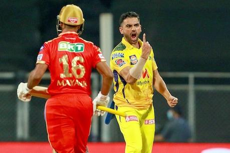 चेन्नई के पेसर दीपक चाहर ने 4 ओवर में मात्र 13 रन देकर पंजाब किंग्स के 4 बल्लेबाजों को पैवेलियन भेजा. (PTI)