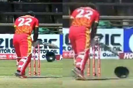 अरशद की बाउंसर लगने के बाद खुद को संभालते जिम्बाब्वे के बल्लेबाज तिनाशे (फोटो क्रेडिट: वीडियो स्क्रीन शॉट )