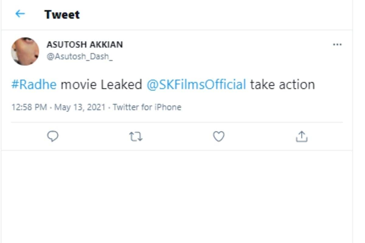Salman Khan, Radhe Your Most Wanted Bhai, Radhe leaked online, Salman Khan New Film, Social Media, Viral tweets, Salman Khan Fans Reaction, Salman Khan Fans Angry, सलमान खान , राधे, राधे हुई ऑनलाइन लीक