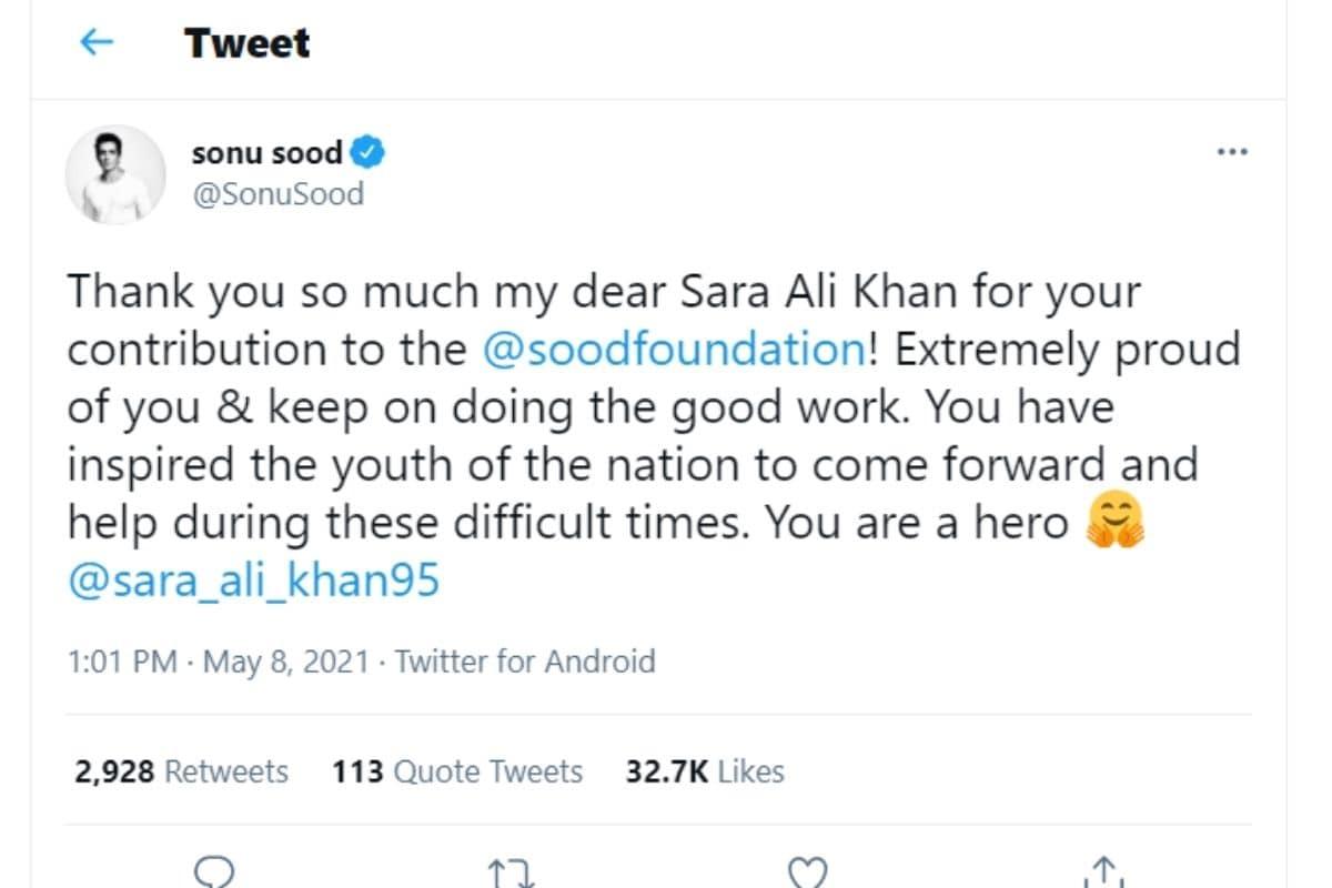 sonu sood, sood foundation, sara ali khan