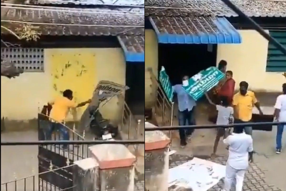 VIDEO: तमिलनाडु में 2 DMK कार्यकर्ताओं ने तोड़ा अम्मा कैंटीन का बोर्ड, पार्टी ने निकाला
