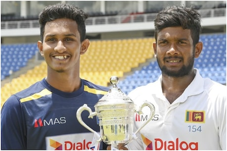 SL vs BAN: प्रवीण जयविक्रम (बाएं) ने 11 विकेट लिए और प्लेयर ऑफ द मैच बने. (Srilanka cricket twitter)