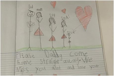 IPL 2021 Suspended: डेविड वॉर्नर ने अपनी बेटी की पेंटिंग पोस्ट की है. (David warner Instagram)