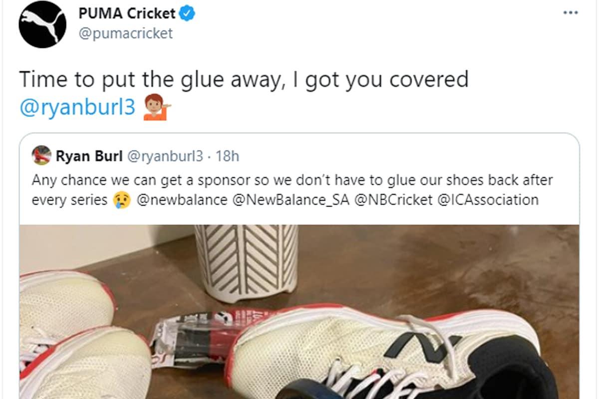 खेल से जुड़ी कंपनी Puma Cricket ने रेयान बर्ल को स्पॉन्सर करने का वादा किया है. रेयान बर्ल के ट्वीट पर ही प्यूमा क्रिकेट ने रिप्लाई किया और उन्हें स्पॉन्सर करने का भी वादा कर दिया. उसके आधिकारिक हैंडल से ट्वीट किया गया है- आपको ग्लू अलग रखने का वक्त आ गया है. हम आपको कवर करेंगे.