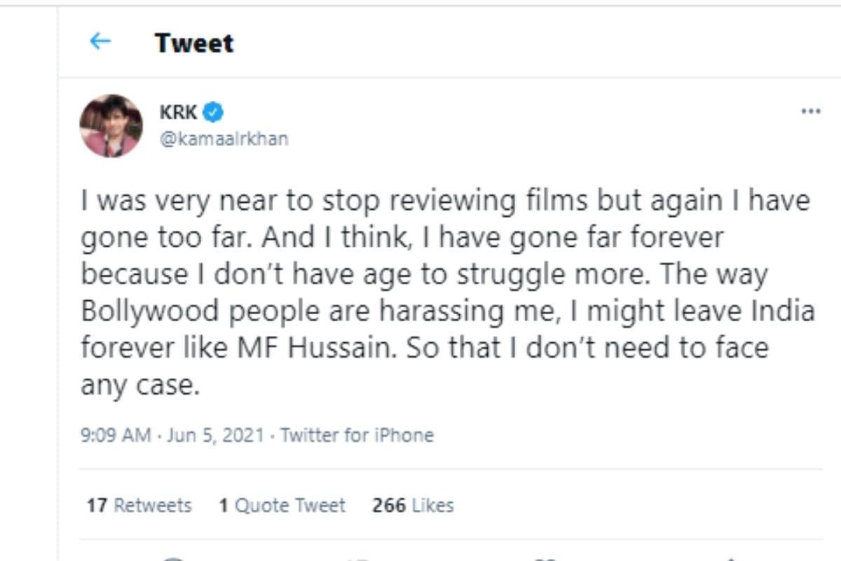 Kamaal R Khan, Kamaal R Khan Aka KRK, KRK might leave India, MF Hussain, Kamaal R Khan Tweet, Social Media, Viral Post, Salman Khan, सलमान खान, एमएफ हुसैन, केआरके