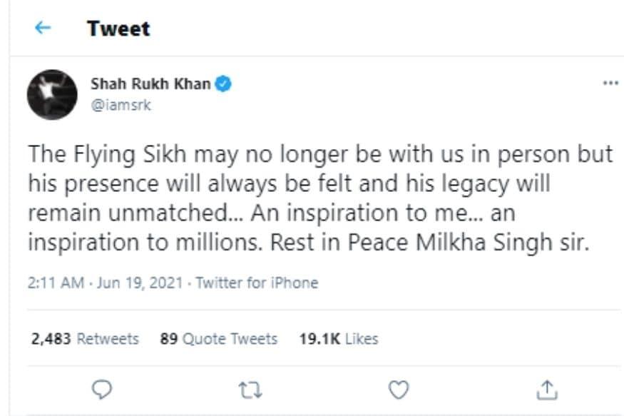 मिल्खा सिंह की मौत, मिल्खा सिंह, बॉलीवुड हस्तियों ने मिल्खा सिंह की मौत पर शोक व्यक्त किया, सोशल मीडिया, शाहरुख खान तापसी पन्नू प्रियंका चोपड़ा रवीना टंडन, मधुर भंडारकर, शाहरुख खान, तापसी पन्नू, प्रियंका चोपड़ा रवीना टंडन