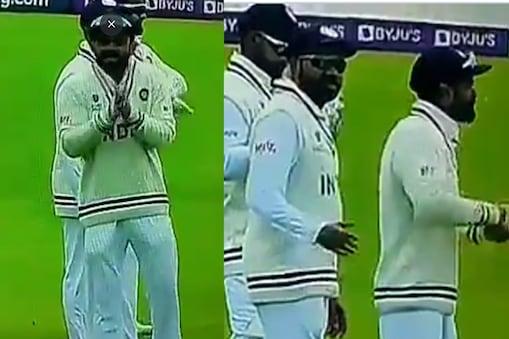 विराट कोहली साउथैम्प्टन में पांचवें दिन के खेल के दौरान मस्ती कर रहे थे, रोहित उनके बगल में ही खड़े थे. (Video Grab/Twitter)