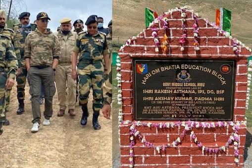 अक्षय कुमार ने 17 जून को जम्मू-कश्मीर में सीमा सुरक्षा बल (बीएसएफ- BSF) के साथ बिताया था. (फोटो साभारः Twitter @akshaykumar/@BSF_India)